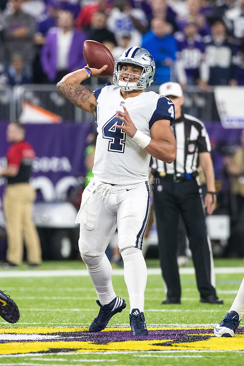 Dec 1, 2016; Minneapolis, MN, USA; Dallas Cowboys quarterback Dak Prescott (4) during a game between the Dallas Cowboys and Minnesota Vikings at U.S. Bank Stadium. The Cowboys defeated the Vikings 17-15. Mandatory Credit: Brace Hemmelgarn-USA TODAY Sports