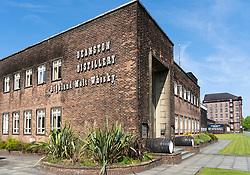 Exterior view of Deanston Distillery in Doune, Scotland, UK