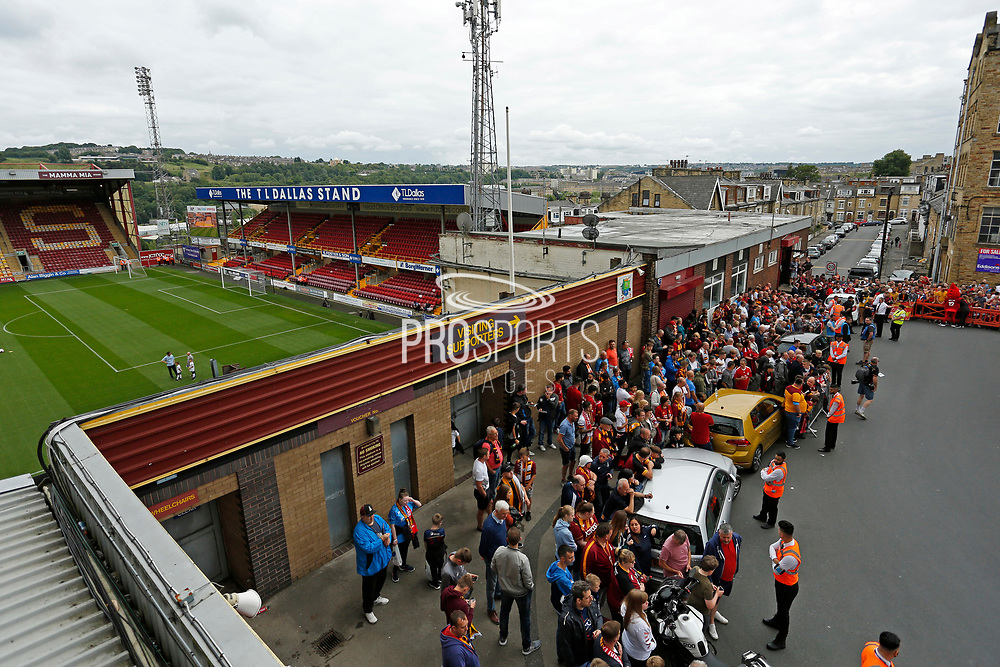 Fans waiting for the Liverpool team bus during the Pre-Season Friendly match between Bradford City and Liverpool at the Northern Commercials Stadium, Bradford, England on 14 July 2019.