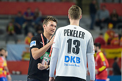 Christian Prokop, head coach of Germany with Hendrik Pekeler of Germany during handball match between National teams of Germany and Spain on Day 7 in Main Round of Men's EHF EURO 2018, on January 24, 2018 in Arena Varazdin, Varazdin, Croatia. Photo by Mario Horvat / Sportida