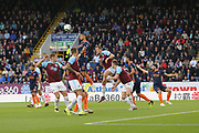 27 Manuel Da Costa for İstanbul Başakşehir F.K. wins header for 28 Kevin Long for Burnley FC during the Europa League third qualifying round leg 2 of 2 match between Burnley and Istanbul basaksehir at Turf Moor, Burnley, England on 16 August 2018.