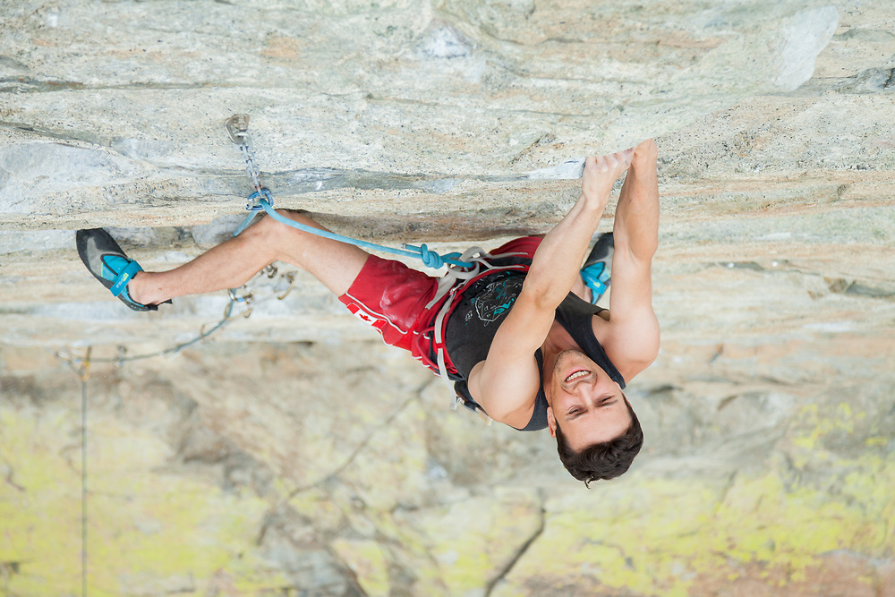 Evan Waugh leading Air Test, 5.13a at Skaha Bluffs in Penticton, BC