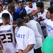 The White team huddle together prior to the start of The 2015 Duffy's Hope Celebrity Basketball Game Saturday, August 01, 2015, at The Bob Carpenter Sports Convocation Center, in Newark, DEL.    <br /> <br /> Proceeds will benefit The Non-Profit Organization Duffy's Hope Youth Programming.
