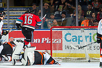 KELOWNA, BC - NOVEMBER 8:  Michael Farren #16 of the Kelowna Rockets scores a second period goal on Mads Søgaard #30 of the Medicine Hat Tigers at Prospera Place on November 8, 2019 in Kelowna, Canada. (Photo by Marissa Baecker/Shoot the Breeze)