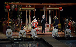 The press were invited to photograph the &quot;A cast&quot; dress rehearsal of the<br /> production of Madam Butterfly by Giacomo Puccini at The Royal Albert Hall,  Kensington Gore, London on Wednesday 25 February 2015<br /> <br /> Staged in-the-round, this production transforms the iconic Royal Albert Hall into Japan in 1907.  Once more the floor of the Royal Albert Hall is<br /> flooded to create David Roger's stunning design where Madam Butterfly's house is perched on stilts above the shimmering surface of a traditional Japanese water<br /> garden.<br /> <br /> The role of the young Japanese bride, Cio Cio San is played by Hyeseoung Kwon opposite Jeffrey Gwaltney in the role of American naval lieutenant, Pinkerton.  <br /> <br /> Sabina Kim  plays Suzuki, with David Kempster as Sharpless.<br /> <br />  Michael Druiett asThe Bonze<br /> Julius Ahn as Goro <br />  Seungwook Seong as Yamadori<br /> Lise Christensen as Kate Pinkerton<br />  Freddie Tong as Imperial Commissioner <br /> Richard Suart as the Registrar.