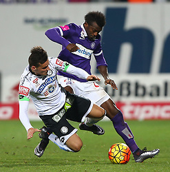 02.12.2015, Generali Arena, Wien, AUT, 1. FBL, FK Austria Wien vs SK Puntigamer Sturm Graz, 18. Runde, im Bild Kristijan Dobras (SK Puntigamer Sturm Graz) und Olarenwaju Ayobami Kayode (FK Austria Wien) // during Austrian Football Bundesliga Match, 18th Round, between FK Austria Vienna and SK Puntigamer Sturm Graz at the Generali Arena, Vienna, Austria on 2015/12/02. EXPA Pictures © 2015, PhotoCredit: EXPA/ Thomas Haumer