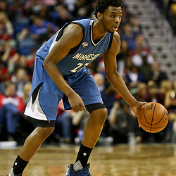 Feb 27, 2016; New Orleans, LA, USA; Minnesota Timberwolves guard Andrew Wiggins (22) against the New Orleans Pelicans during the first half of a game at  the Smoothie King Center. Mandatory Credit: Derick E. Hingle-USA TODAY Sports