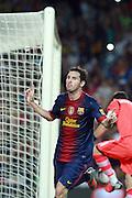 Lionel Messi scores the second goal for Barcelona. Barcelona v Real Madrid, Supercopa first leg, Camp Nou, Barcelona, 23rd August 2012...Credit : Eoin Mundow/Cleva Media