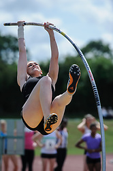 Swansea Harriers' Lucy Strickland warms up for the Pole Vault, UK Women's Athletics League - Premier Division Match 3, Norman Park Bromley, UK on 03 August 2013. Photo: Simon Parker