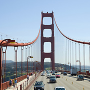 Driving on the Golden Gate Bridge. San Francisco, CA. USA.