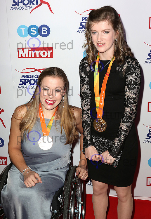 Hannah Cockroft, Sophie Hahn, Pride of Sport Awards, Grosvenor House Hotel, London UK, 07 December 2016, Photo by Richard Goldschmidt