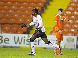 BLACKPOOL, ENGLAND - Wednesday, December 18, 2013: Liverpool's Sheyi Ojo celebrates scoring the third goal against Blackpool during the FA Youth Cup 3rd Round match at Bloomfield Road. (Pic by David Rawcliffe/Propaganda)