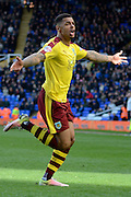Burnley striker Andre Gray celebrates goal 1-2 during the Sky Bet Championship match between Birmingham City and Burnley at St Andrews, Birmingham, England on 16 April 2016. Photo by Alan Franklin.