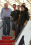 (L-R) Sir Richard Branson, Kevin Dillon, Jerry Ferrara and Adrian Grenier appear as Virgin America launches JFK-Las Vegas Service with 'Entourage' Airbus A320 at JFK Airport in New York City in New York City, USA on September 4, 2008.
