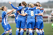 Brighton celebrate Brighton's Charlotte Gurr's goal during the FA Women's Premier League match between Forest Green Rovers Ladies and Brighton Ladies at the Hartpury College, United Kingdom on 24 January 2016. Photo by Shane Healey.