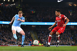 Korey Smith of Bristol City attempts to block a cross from Kevin De Bruyne of Manchester City  - Mandatory by-line: Matt McNulty/JMP - 09/01/2018 - FOOTBALL - Etihad Stadium - Manchester, England - Manchester City v Bristol City - Carabao Cup Semi-Final First Leg