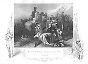 Robert Henry Sale (1782-1845) English general. Mortally wounded at Battle of Mudkhi (Moodkee), 18 December 1845, being carried from the battlefield. Engraving