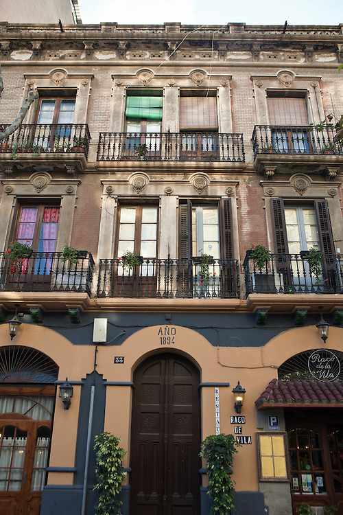 Traditional architecture in the Poblenou neighbourhood of, Barcelona, Catalonia, Spain.