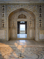 AGRA, INDIA - CIRCA NOVEMBER 2018: Interior of the Agra Fort. This is a historical fort in the city of Agra in India. It was the main residence of the emperors of the Mughal Dynasty until 1638, when the capital was shifted from Agra to Delhi. Agra is a city and very popular tourist destination on the banks of the Yamuna river in the Indian state of Uttar Pradesh.