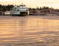 A Washington State Ferry is arriving at Friday Harbor on San Juan Island  Washington, USA