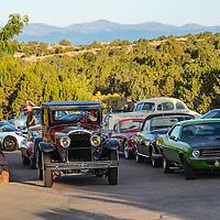 More automobiles fill into the Arroyo Vino parking lot, awaiting the start of the 2012 Santa Fe Concorso High Mountain Tour.