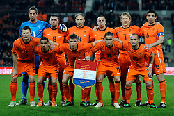09-02-2011 VOETBAL: NEDERLAND - OOSTENRIJK: EINDHOVEN<br /> Netherlands in a friendly match with Austria won 3-1 / Dutch team with (TL-R) keeper Maarten Stekelenburg, Theo Janssen, Joris Mathijsen, John Heitinga, Dirk Kuyt, Mark van Bommel<br /> (BL-R) Erik Pieters, Gregory van der Wiel, Klaas Jan Huntelaar Ibrahim Afellay, Wesley Sneijder <br /> ©2011-WWW.FOTOHOOGENDOORN.NL