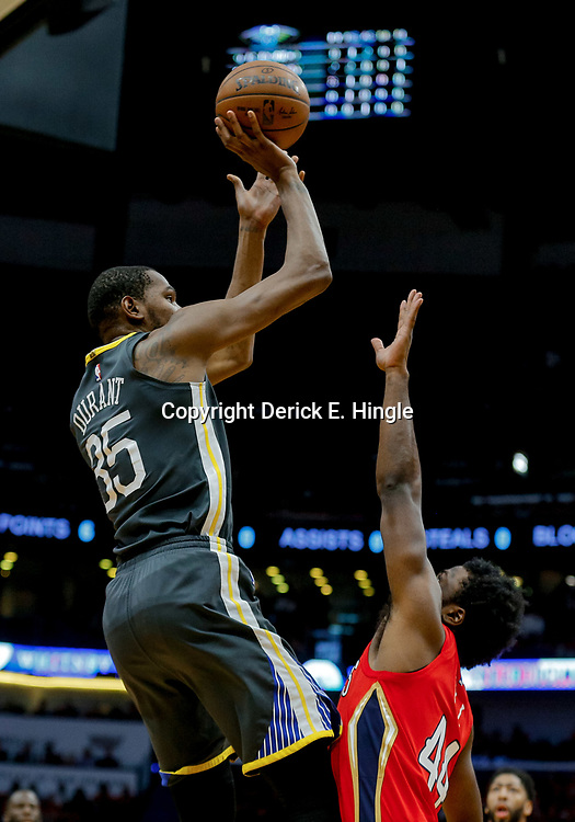 May 6, 2018; New Orleans, LA, USA; Golden State Warriors forward Kevin Durant (35) shoots oer New Orleans Pelicans forward Solomon Hill (44) during the first quarter in game four of the second round of the 2018 NBA Playoffs at the Smoothie King Center. Mandatory Credit: Derick E. Hingle-USA TODAY Sports