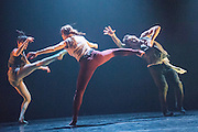 02/05/2013. Southbank Centre presents Victor Quijada's choreography, blurring the boundaries between urban, contemporary and classical dance. In Gravity of Center Quijada has succeeded in containing the ferocity of hip-hop in a perfectly refined choreographic language. Picture shows Anne Plamondon, Daniel Mayo, Emmanuelle LePhan & Victor Quijada.
