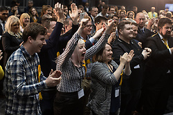 © Licensed to London News Pictures . 26/05/2019. Manchester, UK. Liberal Democrat activists cheer their winning candidates . The count for seats in the constituency of North West England in the European Parliamentary election , at Manchester Central convention centre . Photo credit: Joel Goodman/LNP