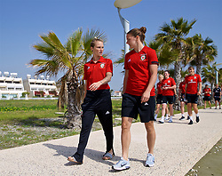 LARNACA, CYPRUS - Tuesday, March 6, 2018: Wales' Jessica Fishlock and Loren Dykes during a team walk around the Palm Beach Hotel & Bungalows in Larnaca on day eight of the Cyprus Cup tournament. (Pic by David Rawcliffe/Propaganda)