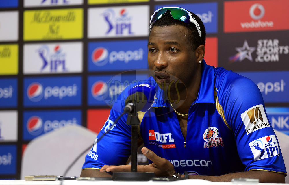 Kieron Pollard of the Mumbai Indians during the press conference of the match 16 of the Pepsi Indian Premier League 2014 between the Delhi Daredevils and the Mumbai Indians held at the Sharjah Cricket Stadium, Sharjah, United Arab Emirates on the 27th April 2014<br /> <br /> Photo by Sandeep Shetty / IPL / SPORTZPICS