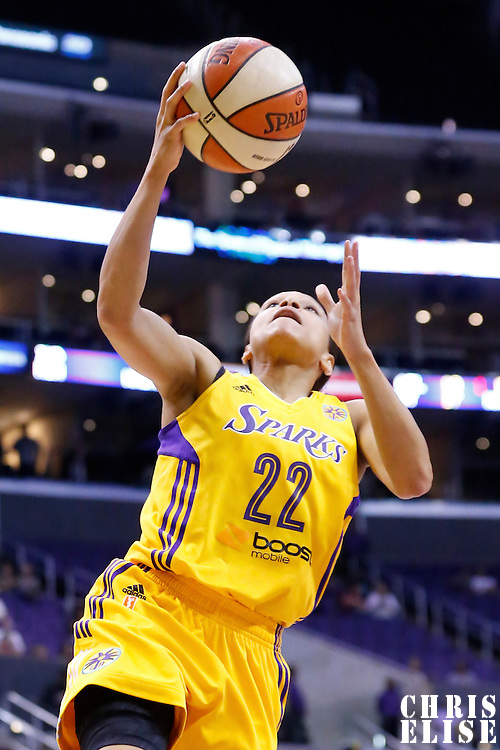 22 June 2014: guard/forward Armintie Herrington (22) of the Los Angeles Sparks goes for the layup during the San Antonio Stars 72-69 victory over the Los Angeles Sparks, at the Staples Center, Los Angeles, California, USA.