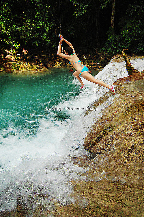 Swimming at the Blue Hole outside Ocho Rios, Jamaica.
