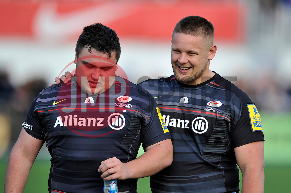 Jamie George and Richard Barrington of Saracens look on after the match - Photo mandatory by-line: Patrick Khachfe/JMP - Mobile: 07966 386802 11/04/2015 - SPORT - RUGBY UNION - London - Allianz Park - Saracens v Leicester Tigers - Aviva Premiership