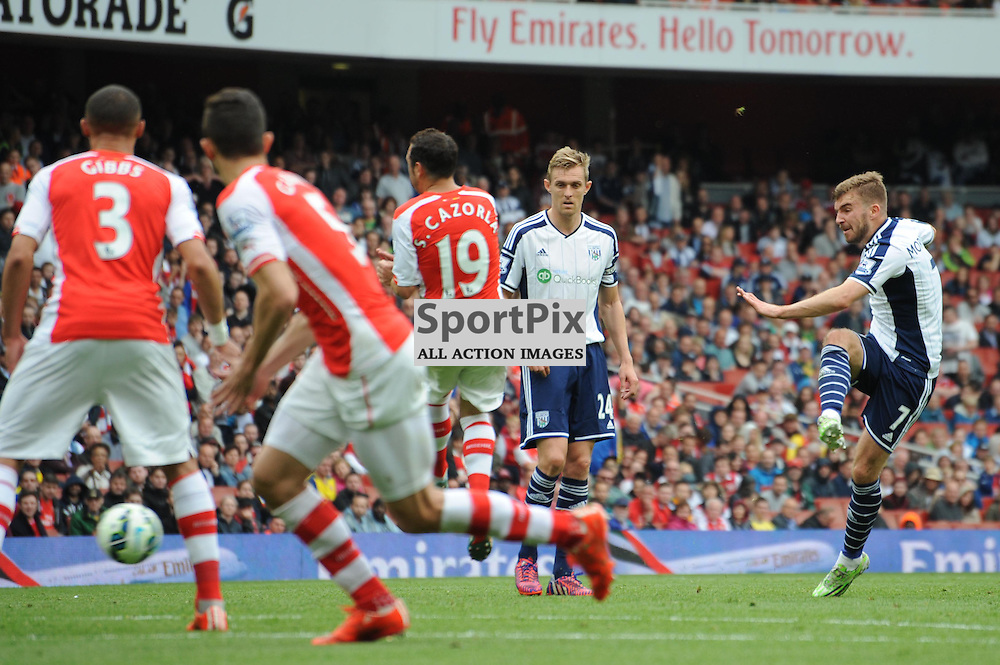 West Broms James Morrison takes a free kick during the Arsenal v West Brom match on Sunday 24th May 2015