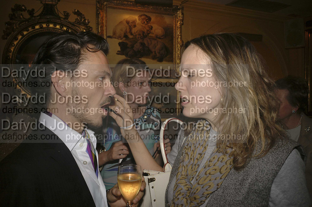 MATTHEW WILLIAMSON AND BAY GARNETT, Plum Sykes, book launch party, Annabel's, Berkeley Square, London, W1,10 May 2006.  Matthew Williamson, Catherine Vautrin, Laudomia Pucci host party to celebrate 'The Debutante Divorcee'. ONE TIME USE ONLY - DO NOT ARCHIVE  © Copyright Photograph by Dafydd Jones 66 Stockwell Park Rd. London SW9 0DA Tel 020 7733 0108 www.dafjones.com