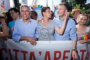 2013/06/15 Roma, corteo del Gay Pride 2013. Nella foto Luigi Nieri, Imma Battaglia, Massimiliano Smeriglio.<br /> Rome, Gay Pride rally 2013. In the picture Luigi Nieri, Imma Battaglia, Massimiliano Smeriglio - &copy; PIERPAOLO SCAVUZZO