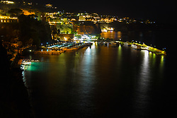 Sorrento, Italy, September 18 2017. Marina Piccola's lights create reflections, seen from the clifftop in Sorrento, Italy. © Paul Davey