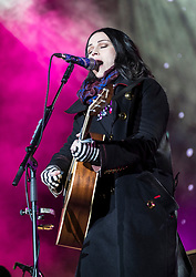 Amy MacDonald performs at Sleep in the Park, held in Princes Street Gardens in Edinburgh, saw almost 9000 people sleep outdoors to raise money and awareness of homelessness.