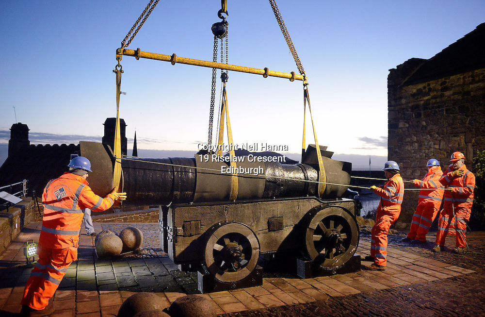 Edinburgh Castle<br /> Mons Meg leaves Edinburgh Castle for MOT<br />  <br /> Mons Meg, the world's most famous medieval gun is pictured preparing to leave Edinburgh Castle for an MOT. The six tonne cannon was transported from Edinburgh Castle this morning (Monday 19th January) for a short period of specialist restoration and conservation work.<br /> <br /> <br />  Neil Hanna Photography<br /> www.neilhannaphotography.co.uk<br /> 07702 246823