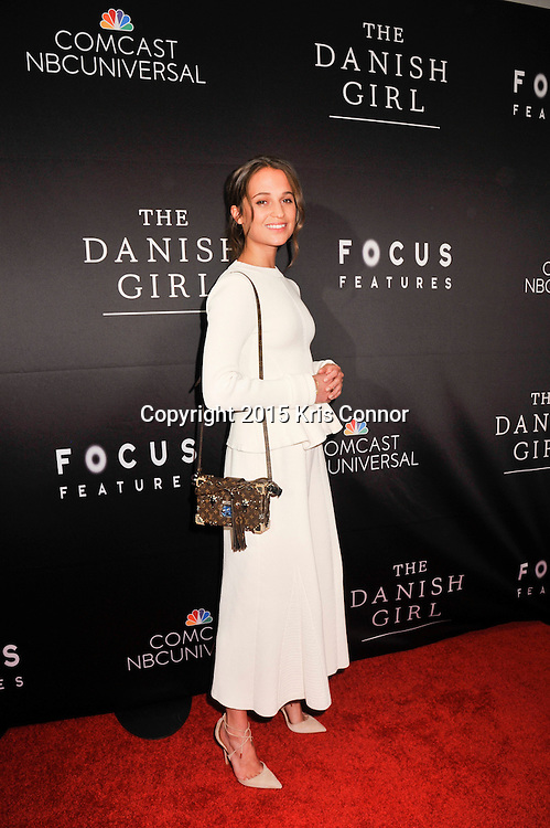 "Alicia Vikander, actress, The Danish Girl, attends the DC premiere of Focus Features' ""THE DANISH GIRL"" at the United States Navy Memorial in Washington DC on November 23, 2015.  (Photo by Kris Connor for Focus Features)"