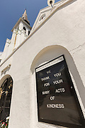 The historic Mother Emanuel African Methodist Episcopal Church on the eve of the anniversary of the mass shooting June 16, 2016 in Charleston, South Carolina. Nine members were gunned down during bible study at the church on June 17, 2015.