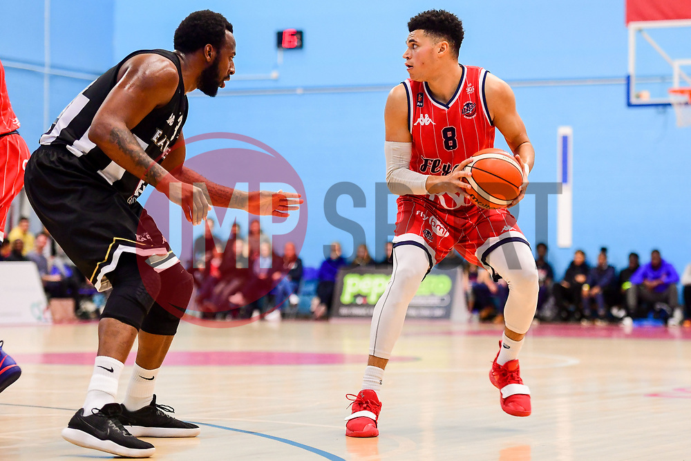 Tevin Falzon of Bristol Flyers is marked - Photo mandatory by-line: Ryan Hiscott/JMP - 03/11/2018 - BASKETBALL - SGS Wise Arena - Bristol, England - Bristol Flyers v Newcastle Eagles - British Basketball League Championship