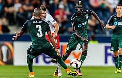 15.09.2016, Red Bull Arena, Salzburg, AUT, UEFA EL, FC Red Bull Salzburg vs FC Krasnodar, Gruppe I, 1. Runde, im Bild Naldo (FC Krasnodar), Valon Berisha (FC Red Bull Salzburg), Kouassi Eboue (FC Krasnodar) //during the UEFA Europa League, group I, 1st round match between FC Red Bull Salzburg and FC Krasnodar at the Red Bull Arena in Salzburg, Austria on 2016/09/15. EXPA Pictures © 2016, PhotoCredit: EXPA/ JFK