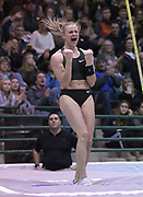 Jan 18, 2019; Reno, NV, USA; Katie Nageotte (USA) celebrates after placing second in the women's pole vault at 15-6 1/4 (4.75m) during the UCS Spirit National Pole Vault Summit at the Reno-Sparks  Livestock Events Center.