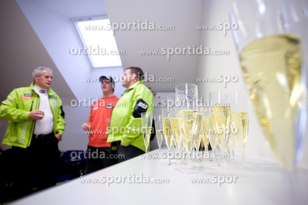 Anton Ribnikar, Andrej Krizaj and Matjaz Sarabon at press conference of Slovenian Ski Federation after Men's Downhill of the Audi FIS Ski World Cup 2009/10 on Tuesday, December 29, 2009 in Bormio, on December 30, 2009, in SZS, Ljubljana, Slovenia.  (Photo by Vid Ponikvar / Sportida)