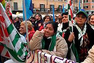 Roma 8 Marzo 2008.Piazza  Navona.Manifestazione dei sindacati  CGIL  CISL e UIL  in occasione del centenario della giornata internazionale della donna. .Rome, March 8, 2008.Piazza Navona.Manifestation of the unions  CGIL, CISL and UIL  on the centenary of International Women's Day.