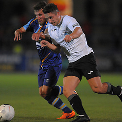 TELFORD COPYRIGHT MIKE SHERIDAN Adam Walker of Telford battles for the ball during the National League North fixture between AFC Telford United and Gloucester City at the New Bucks Head Stadium on Tuesday, September 3, 2019<br /> <br /> Picture credit: Mike Sheridan<br /> <br /> MS201920-015