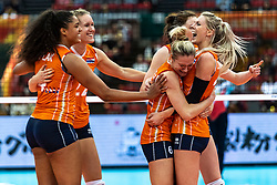 15-10-2018 JPN: World Championship Volleyball Women day 16, Nagoya<br /> Netherlands - USA 3-2 / Celeste Plak #4 of Netherlands, Nicole Koolhaas #22 of Netherlands, Maret Balkestein-Grothues #6 of Netherlands, Laura Dijkema #14 of Netherlands