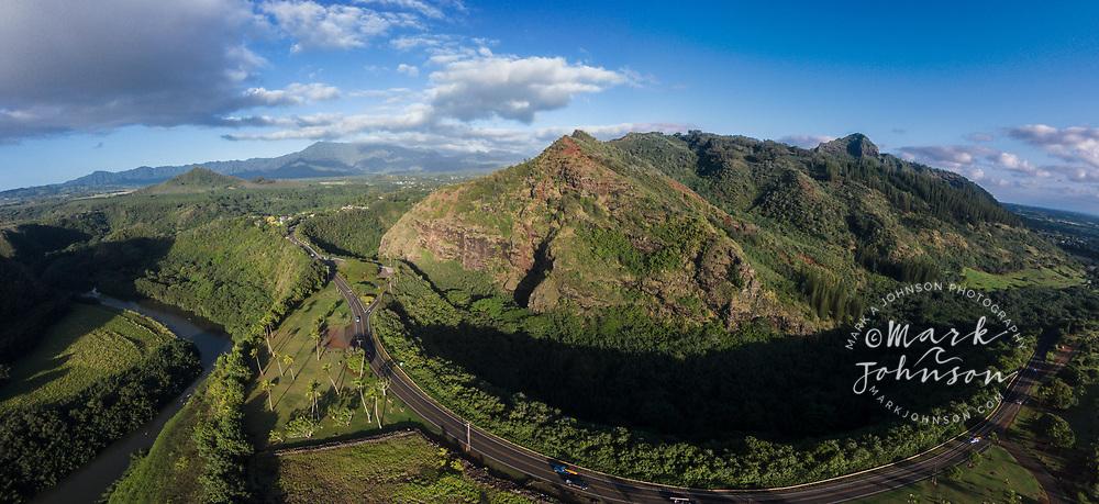 Aerial photograph of the Poliahu Heiau above the Wailua River, Kauai, Hawaii
